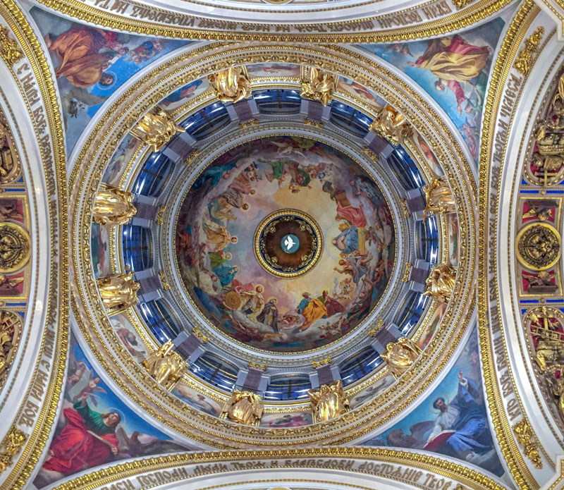 Ceiling and dome frescoes of St Isaac's Cathedral in St Petersburg.